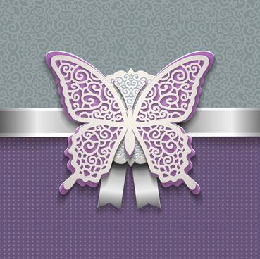 elegant butterflies vintage card vector