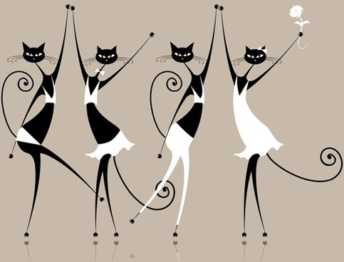elegant cat line art vector