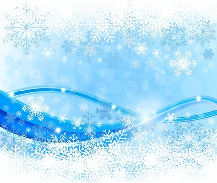 christmas background bright blue white snowflakes curves decor
