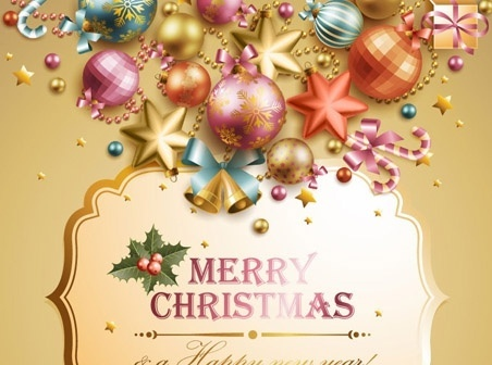 christmas banner bright colorful icons decoration classical style