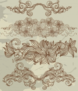 flowers pattern design elements classical handdrawn sketch