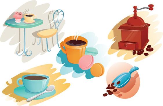 elegant coffee elements vectors