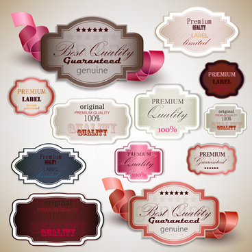 elegant colored quality labels vector