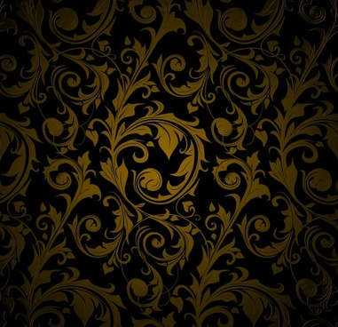 traditional pattern template dark design curves flowers decor