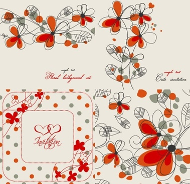 elegant floral background pattern 02 vector