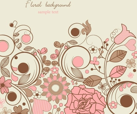 elegant floral background pattern 05 vector