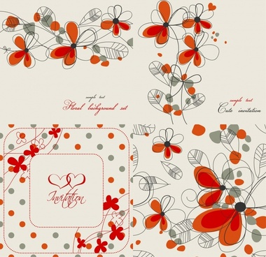 flower card decor elements retro flat handdrawn sketch