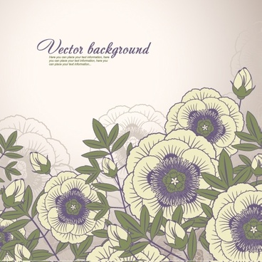 floral background colored classic decor flat handdrawn
