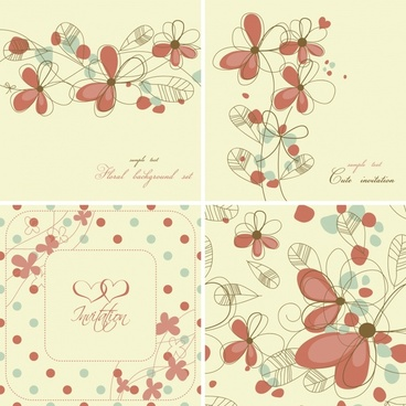 decorative card templates elegant classical handdrawn petals sketch