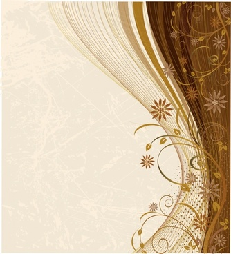 decorative background elegant brown curves flora sketch