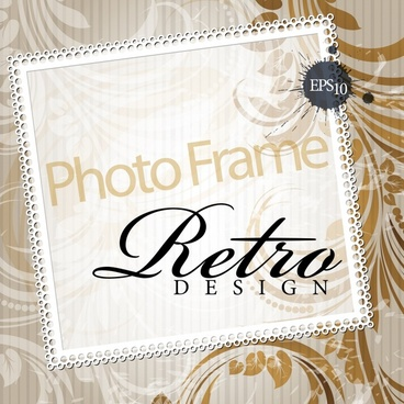 decorative photo frame background elegant retro design