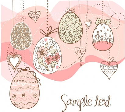 easter background classic decorated eggs flat handdrawn