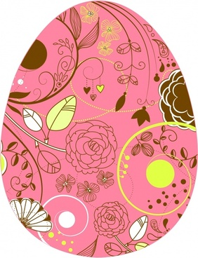 eastern egg background classic floral decor flat sketch