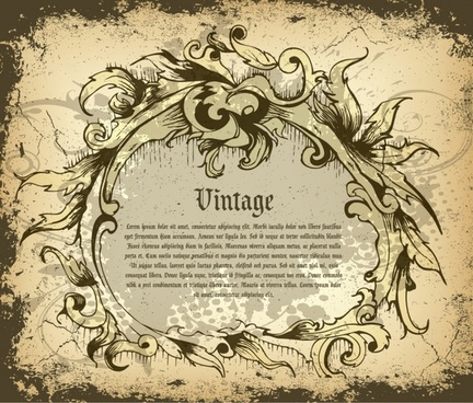 banner template vintage grunge design swirled frame ornament