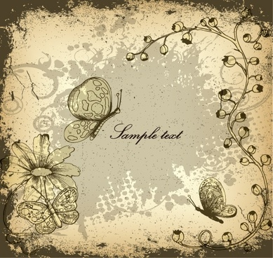 nature background floral butterflies decor dark grunge retro