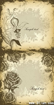 floral background templates dark black white grunge vintage sketch