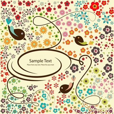decorative background template colorful petals birds curves sketch