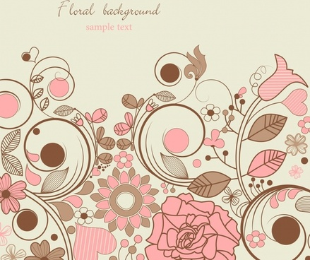 flower background bright colorful classical flat handdrawn
