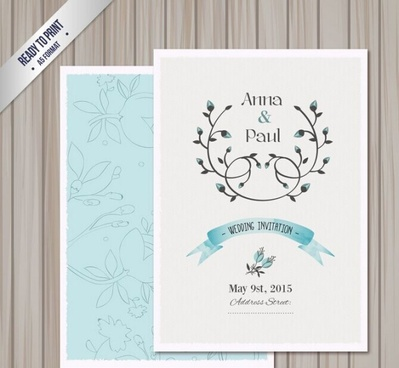 Elegant Floral Wedding Invitation Template Free Vector Download