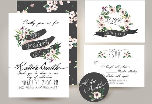 elegant flower wedding invitation card kit vector