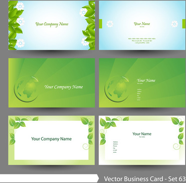 elegant green natural business cards vector