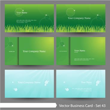 elegant green natural business cards vector
