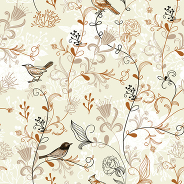 elegant hand drawn birds with flower vector pattern