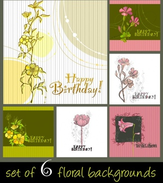 birthday card backgrounds colored classical flower decor