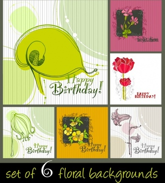 birthdays background templates colored retro floral decor