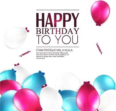 Elegant Happy Birthday Balloon Background Vector