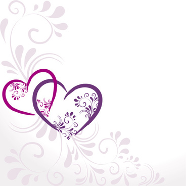 elegant heart with floral background vector
