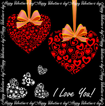 elegant hearts valentine ornaments art vector