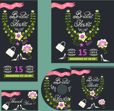 elegant invitation card with cd cover vector