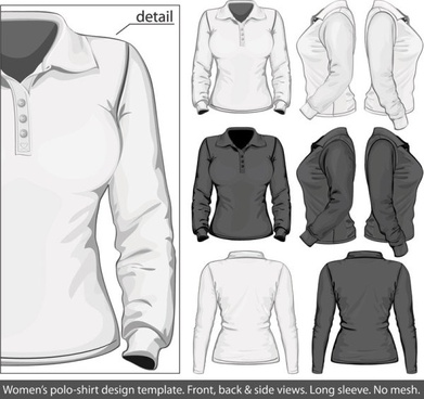 elegant longsleeved shirt template 03 vector