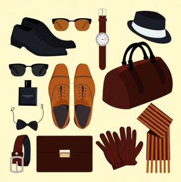 elegant man accessories icons 3d colored design