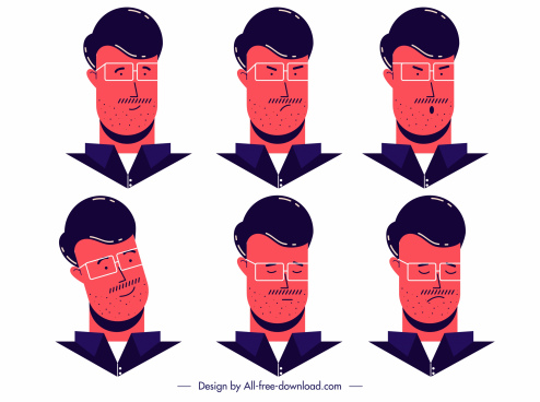 elegant man avatar icons cartoon character sketch