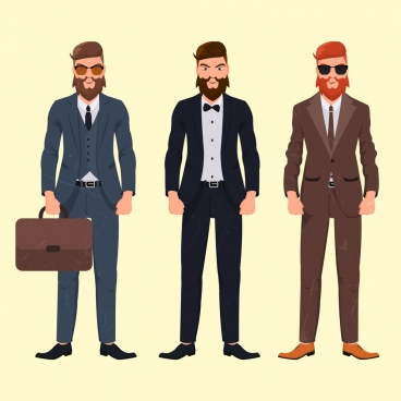 elegant men icons suit clothes colored cartoon character