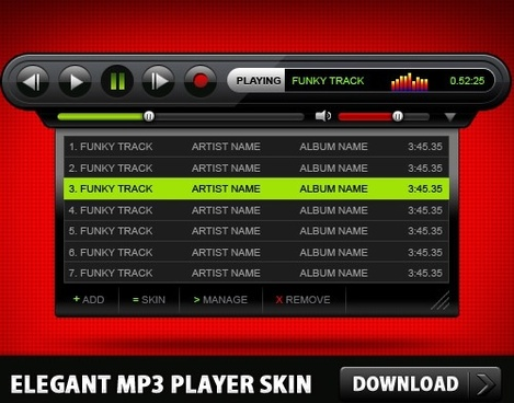 Elegant MP3 Player Skin Free PSD