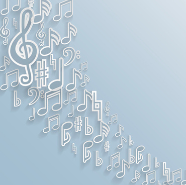 elegant music note background vector set