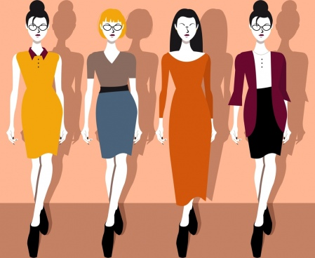 elegant office fashion collection lady icons cartoon characters