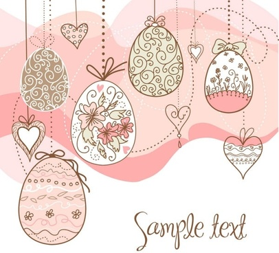 elegant pattern eggs 04 vector