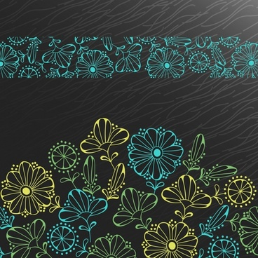 flowers pattern colored classical flat sketch