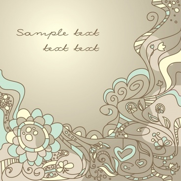 decorative background nature theme retro handdrawn botany sketch