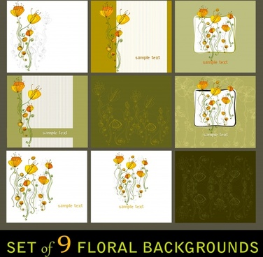 floral background templates colored classical petals sketch