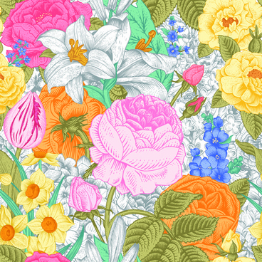 elegant retro floral vector seamless pattern