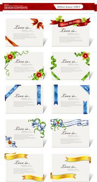 elegant ribbon invitations cards vector