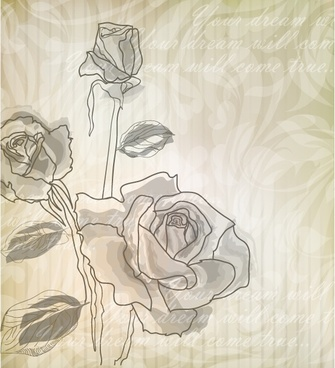 rose card background classical handdrawn blurred design