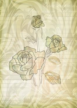 flower card background handdrawn rose sketch blurred design