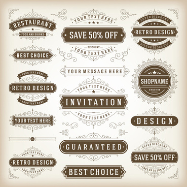 elegant sales discounts labels vector