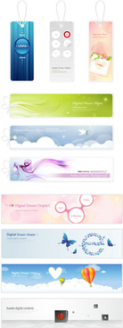 elegant summer tags and banners vectors